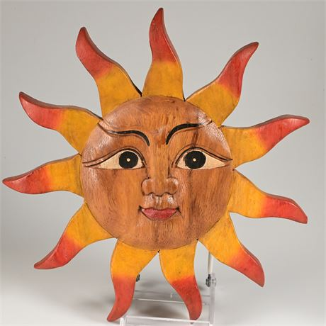 Wood Carved and Painted Sun