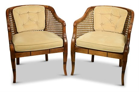 Mid-Century Bamboo Cane Barrel Chairs