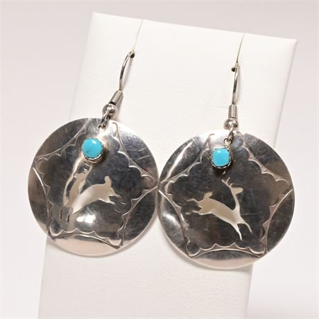 Pair of Sterling Silver and Turquoise Earrings