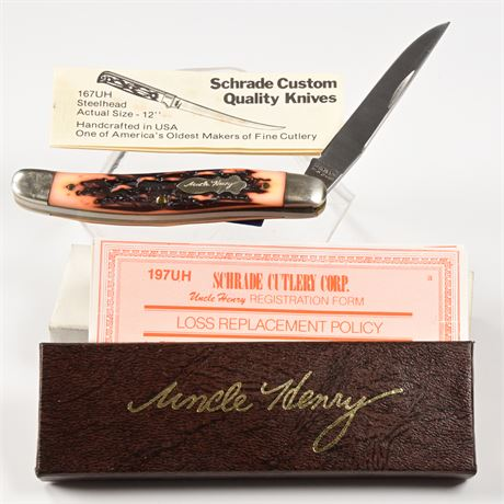 Schrade USA Uncle Henry Staglon Cat Paw Lockable Knife 197UH
