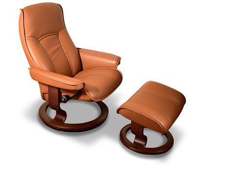 Ekornes Stressless Chair and Ottoman