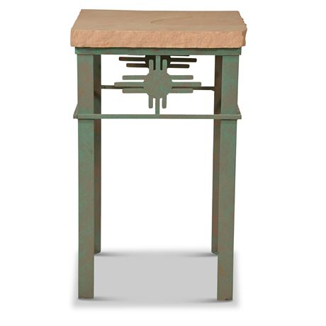 Iron and Stone Zia Side Table