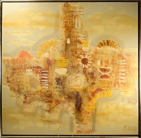 """Mid-Century Abstract """"Greek Gold"""