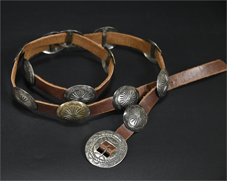 Antique (Petite) Sterling Navajo Concho Belt