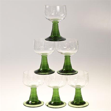 Vintage Schott-Zwiesel Green Stem Etched Grape Glasses