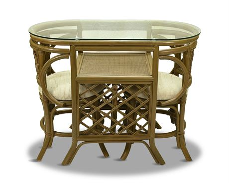 1960's Rattan and Glass Top Game/Dining Set