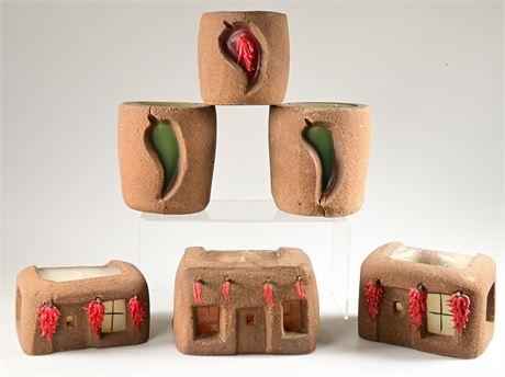 Carved Artisan Pueblo Candles
