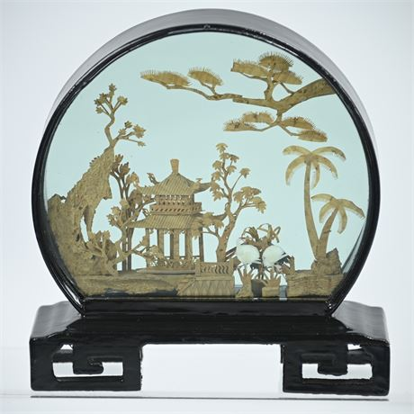 Vintage Chinese Cork Carved Scene in Glass Shadow Box