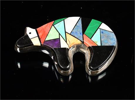 Zuni Inlay Bear Pendant/Brooch