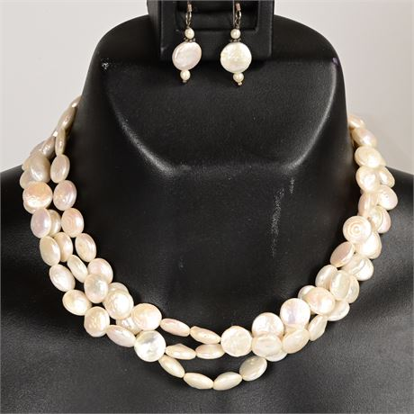 Oval Button Pearl Choker and Earrings