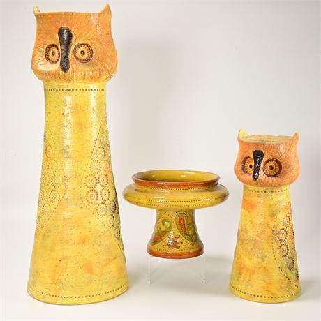 Mid-Century Modern Retro Italian Rosenthal-Netter Pottery Owl