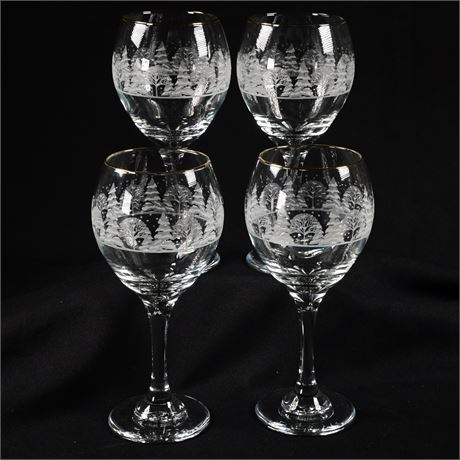 Etched and Embossed Wine Glasses