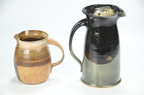 Pair Stoneware Pitchers