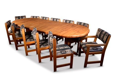 Classic Butcher Block Oak 12 Person Dining/Conference Table