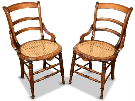 Pair of Antique Chairs with Cane Seats
