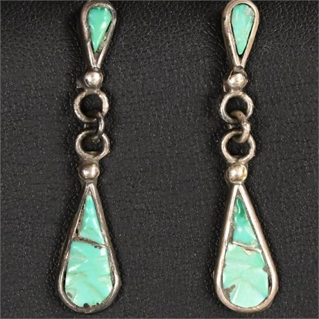 Vintage Zuni Turquoise and Sterling Earrings