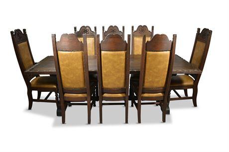 Vintage Hand Carved Dining Set