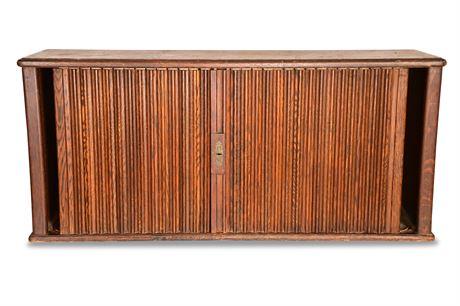 Vintage Oak Tambour Door Organizer