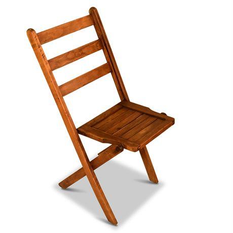 Antique Oak Folding Chair