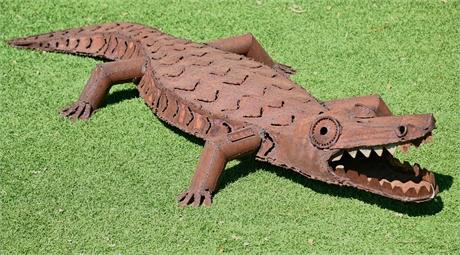 Artist Crafted Metal Alligator Sculpture