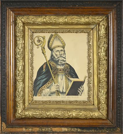 Currier And Ives Original Lithograph St. Patricio Framed Vintage