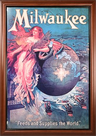 """Antique Milwaukee """"Feeds and Supplies the World"""" Iconic Poster, 1901"""