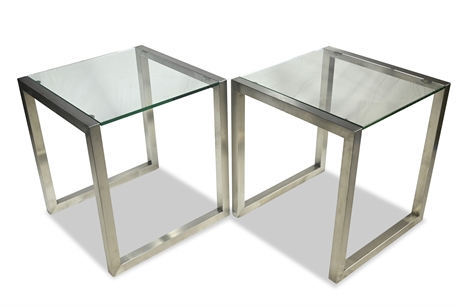 Pair of Contemporary Brushed Steel and Glass End Tables