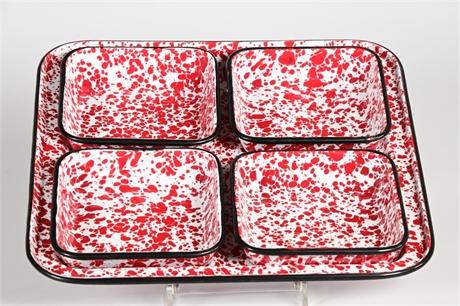 Speckled Enamelware Five Piece Snack Set