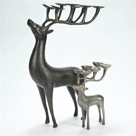 Pair Cast Deer Candelabras