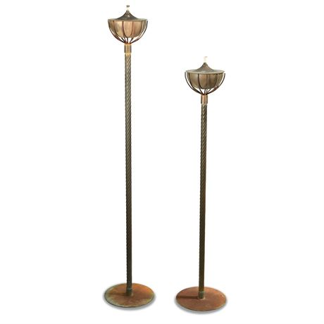 Pair Wrought Iron Oil Torches