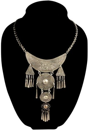 OLD Tooled Silver Indian Necklace
