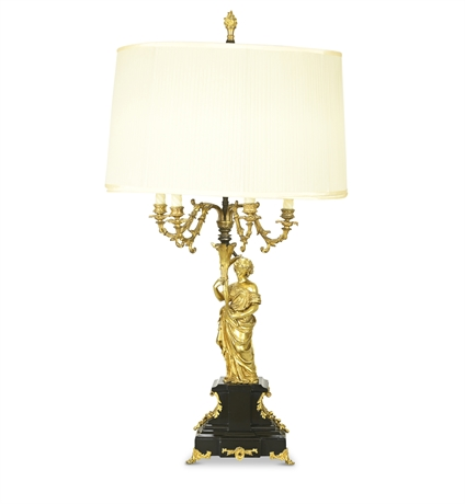 19th Century French Gilt Bronze Lamp