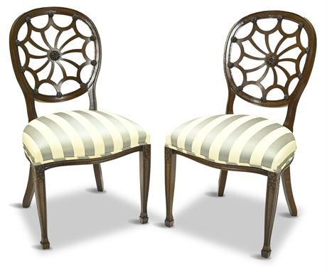 Pair Mahogany Regency Style Spider Back Chair