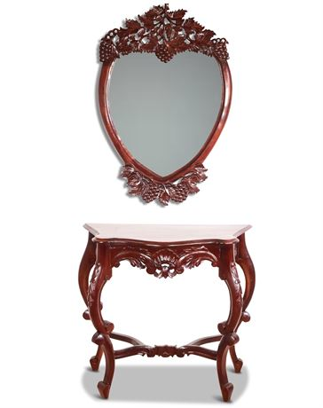 Carved Entry Table and Mirror