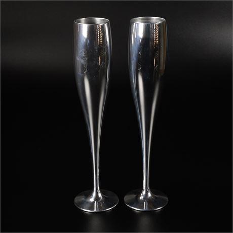 Pair Nambé Champagne Flutes