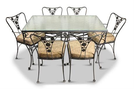 Mid-Century Woodard Iron Patio Dining Set