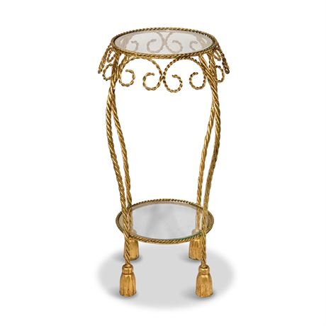 Rene Drouet Style Gilded Iron and Glass Side Table
