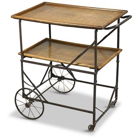 Antique Industrial Iron Oak Folding Bar Cart