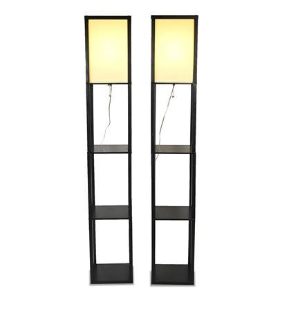 Pair Contemporary Tower Lamp Shelves
