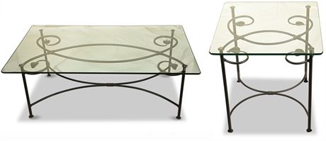 Heavy Wrought Iron and Glass Cocktail Tables