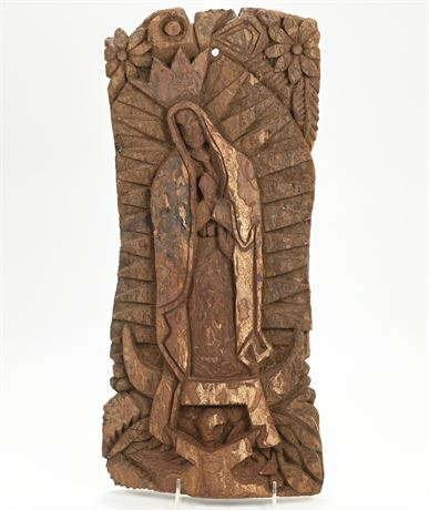 Unique Virgen de Guadalupe Hand Carved by Tarahumara Indian in Mexico