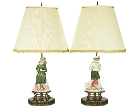Germanic Bisque Porcelain Mounted Table Lamps