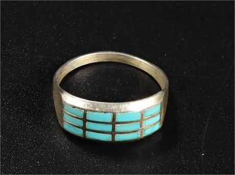 Zuni Inlaid Turquoise Ring