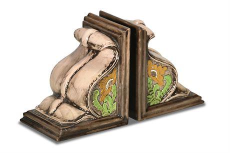 Mid-Century Ceramic Corbel Style Bookends