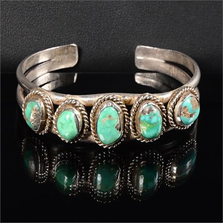 Vintage Navajo Turquoise and Sterling Cuff Bracelet