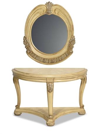 Demilune Console and Mirror Set