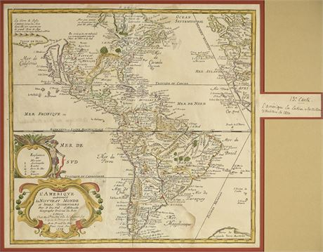 1684 Hand Colored Etching Map of South America
