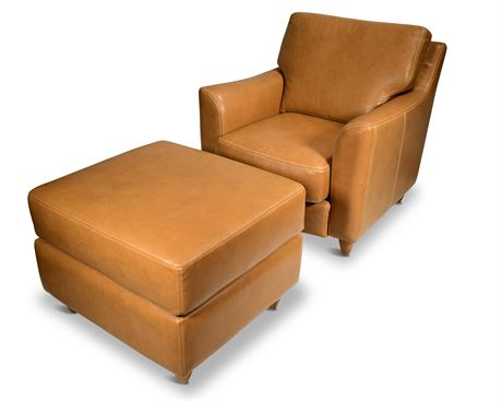 Great Texas Leather Chair with Ottoman by Arizona Interiors