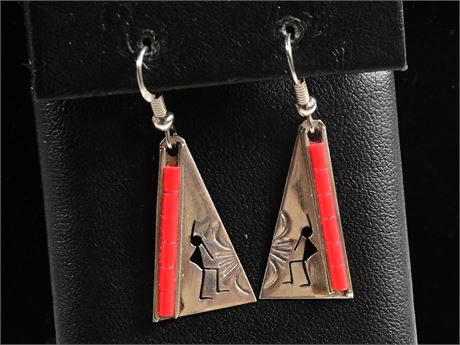 Sterling and Coral Kokopelli Earrings