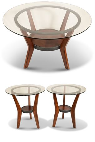 Contemporary Wood and Glass Living Room Tables